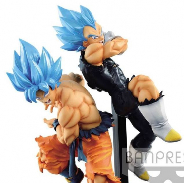 Dragon Ball Super - Pack Figurines Goku Et Vegeta SSJ Blue Tag Fighter